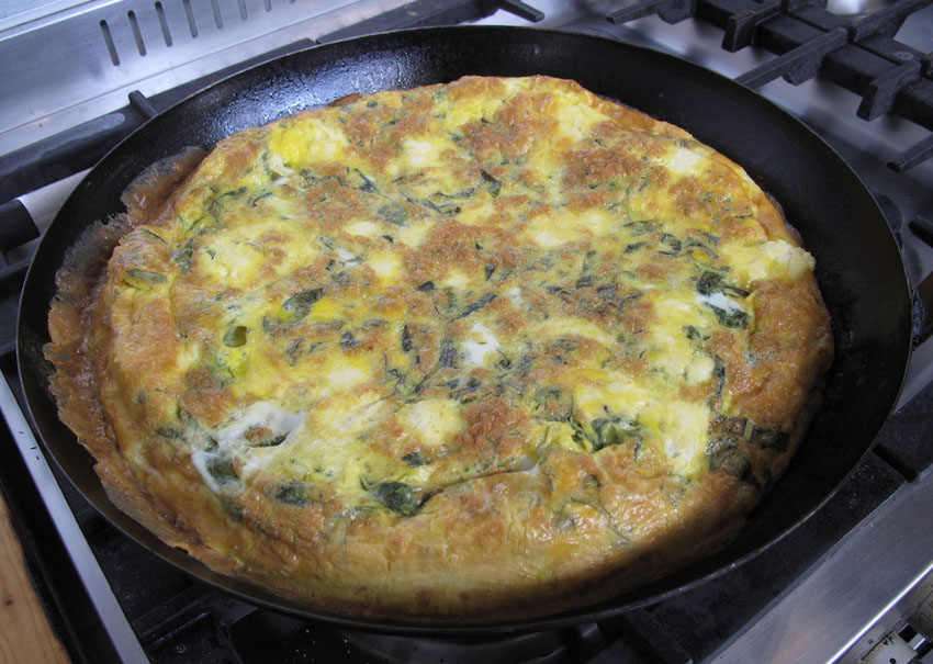 Goat's Cheese and Broad Bean Fritatta